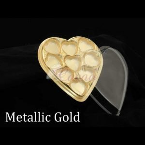 9 Cavity Heart Box Gold  Pack of 10